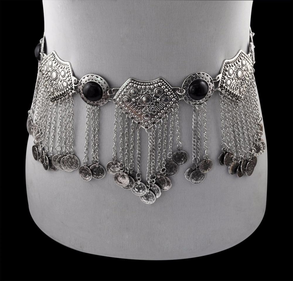 Image 3 - Цыганское серебряное металлическое платье с цветком в стиле бохо, турецкое богемное платье с ремнем для танца живота, поясная цепь с монетками, сексуальное индийское украшение для телаУкрашения для тела   -