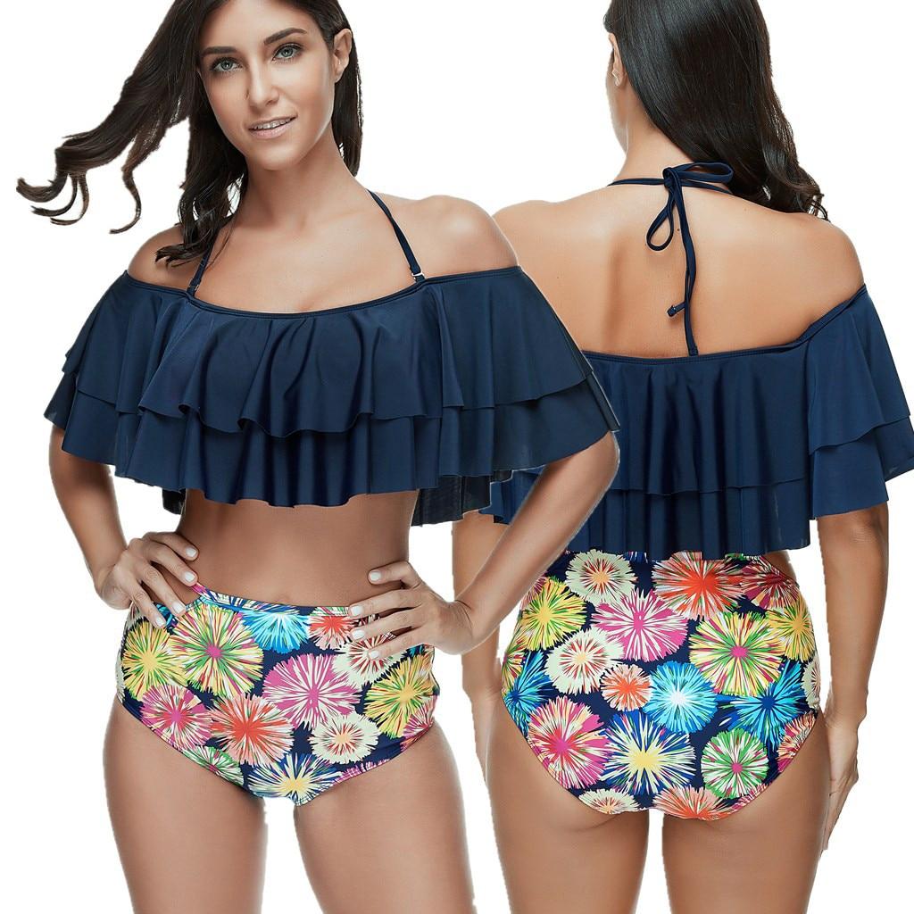 Summer Women Sexy Two Pieces Bikini Monokini High Waist Swimsuit Floral Print Blue Swimwear Bandage Beach wear Backless Flounce