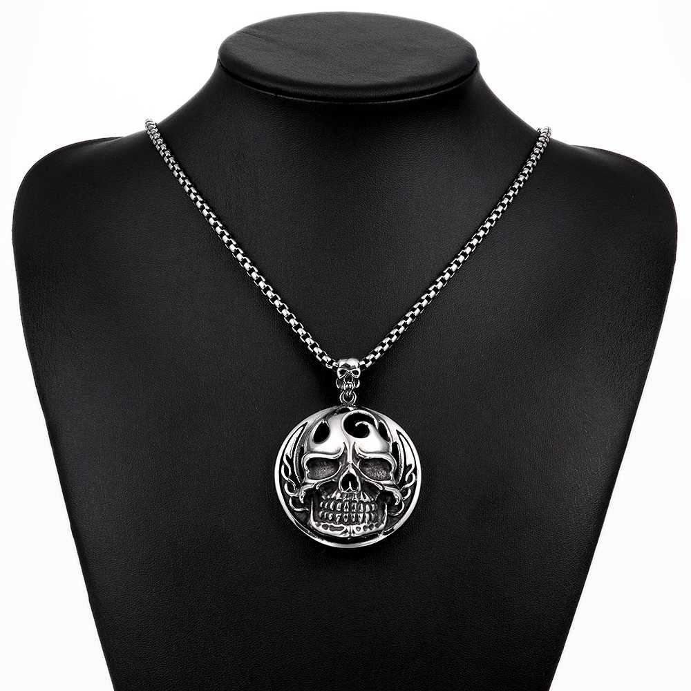 Nuncad الرجال الجمجمة 316L الفولاذ المقاوم للصدأ قلادة قلادة الوردية الأزياء النفط بالتنقيط العظام مجوهرات بسيطة الرجال مجوهرات Erkek Kolye