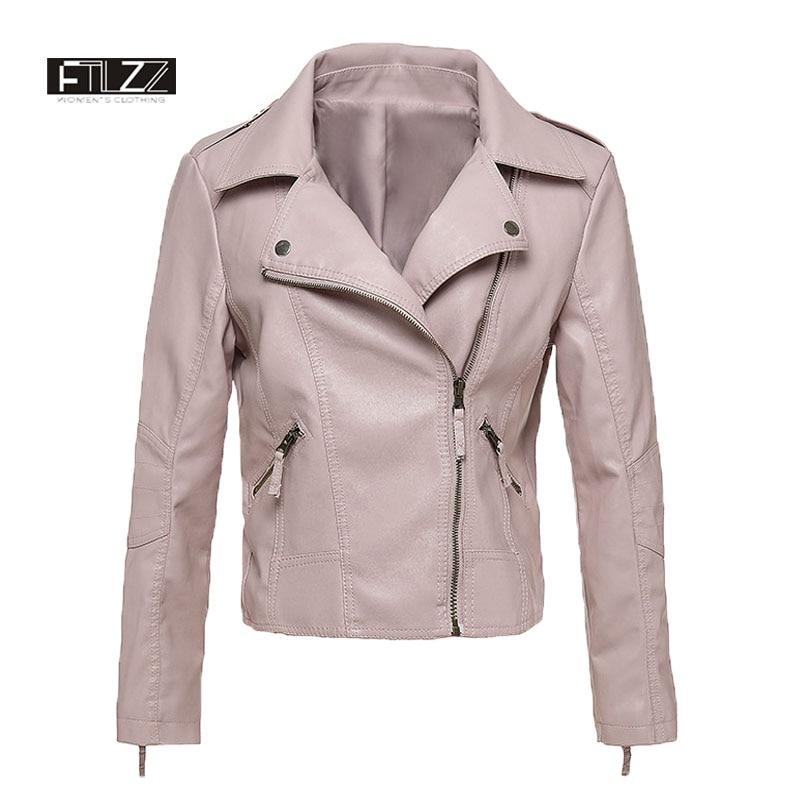 Fashion Spring Autumn   Leather   Jakcet Women Slim Zipper Pink Pvs Coat Ladies Bikers Motoraycle Jackets Casaco Couro Feminino