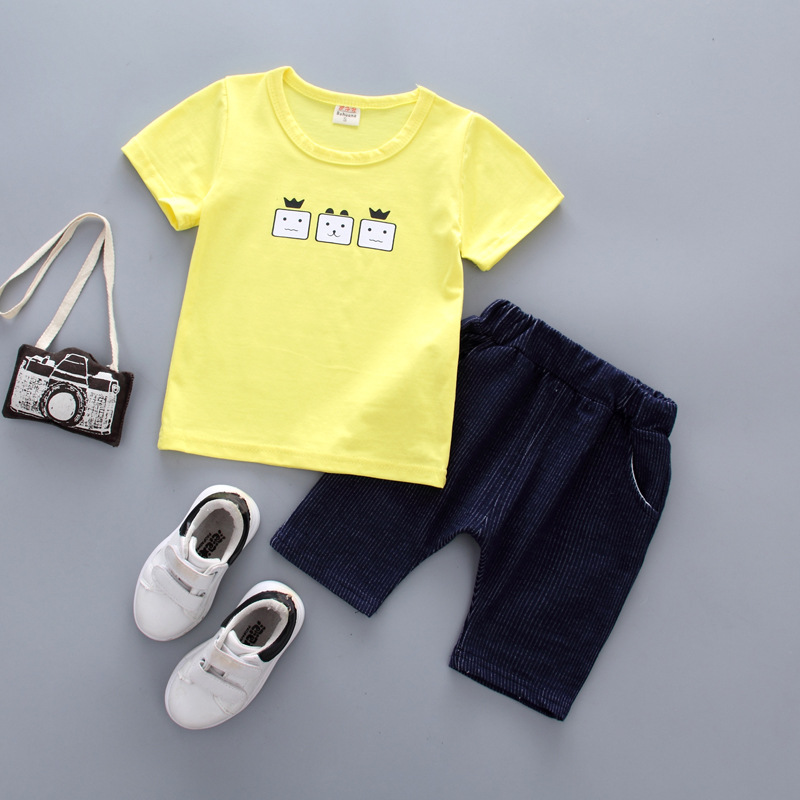 Cute childrens clothing baby boy clothing suit summer (cartoon short-sleeved T-shirt +shorts) Newborn girl cotton clothing