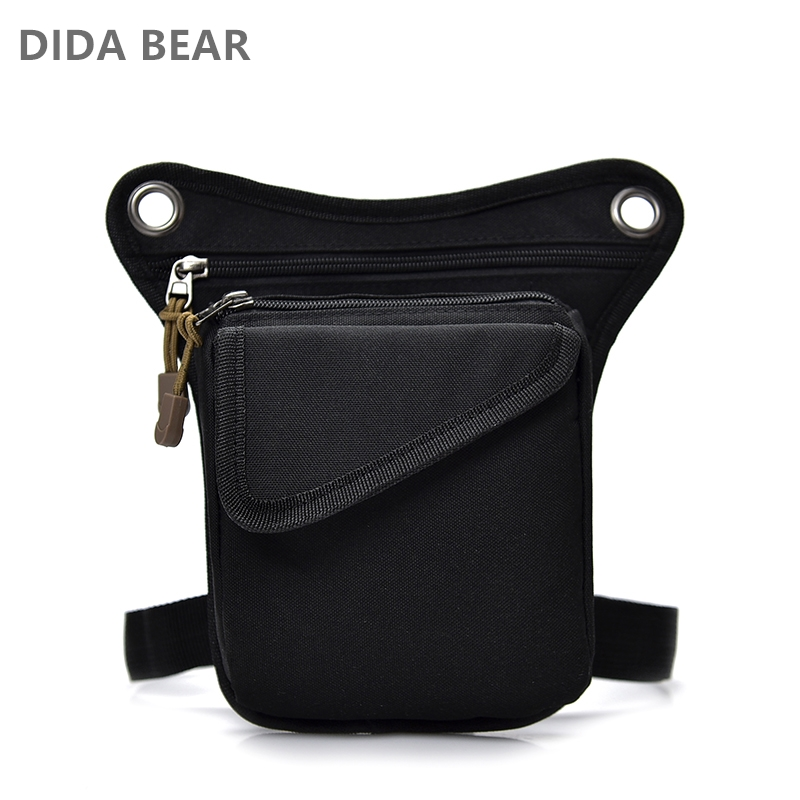 DIDABEAR Brand Men Canvas drop waist bags Leg pack bag for work Men Messenger bags Male Crossbody Shoulder Bag Small Black