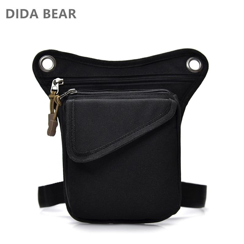 DIDABEAR Brand Men Canvas Drop Waist Bags Leg Pack Bag For Work Men Messenger Bags Male Crossbody Shoulder Bag Small Black
