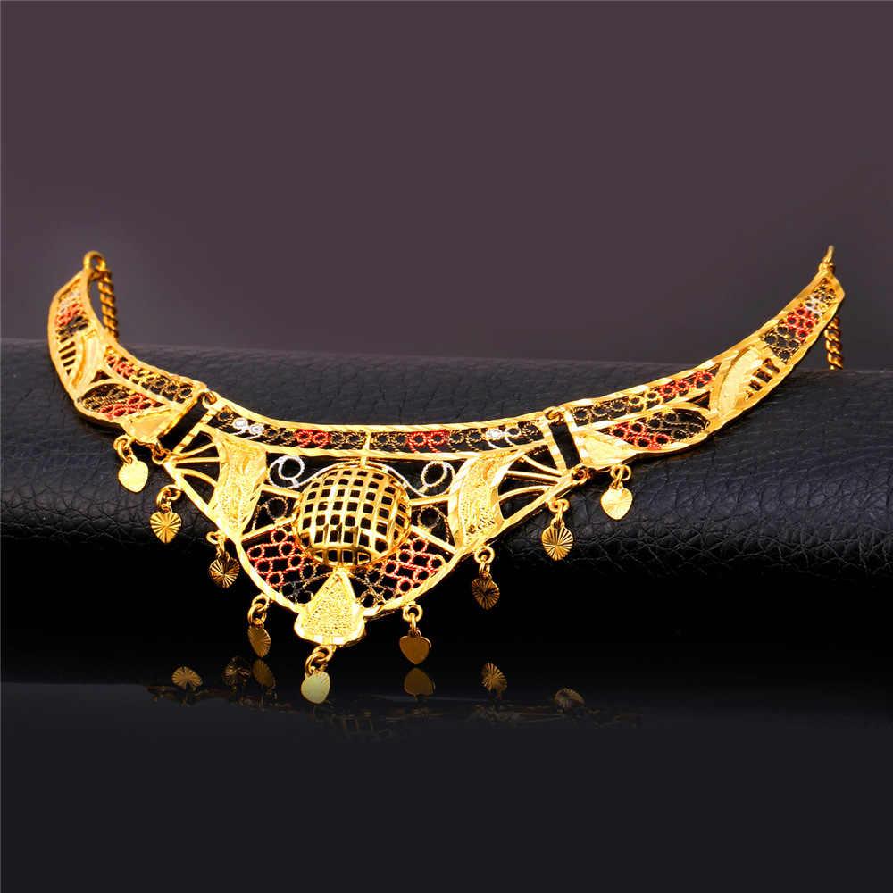 U7 Big Maxi naszyjnik złoty kolor biżuteria indyjska hurtownie Hollow miłość serce kobiety oświadczenie naszyjnik N479