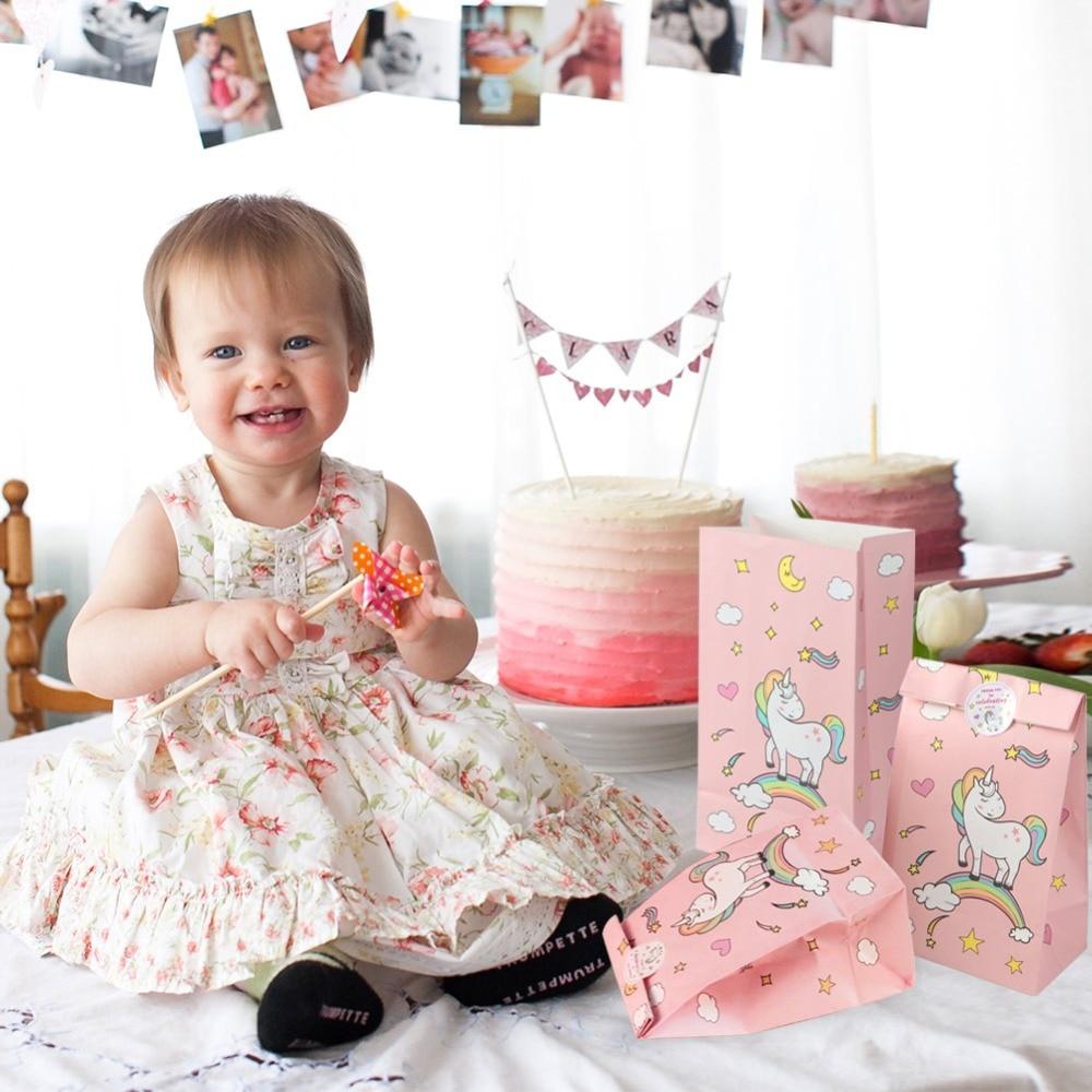 Aytai 12pcs Unicorn Party Pink Paper Bag With Sticker Gift para - Para fiestas y celebraciones - foto 6