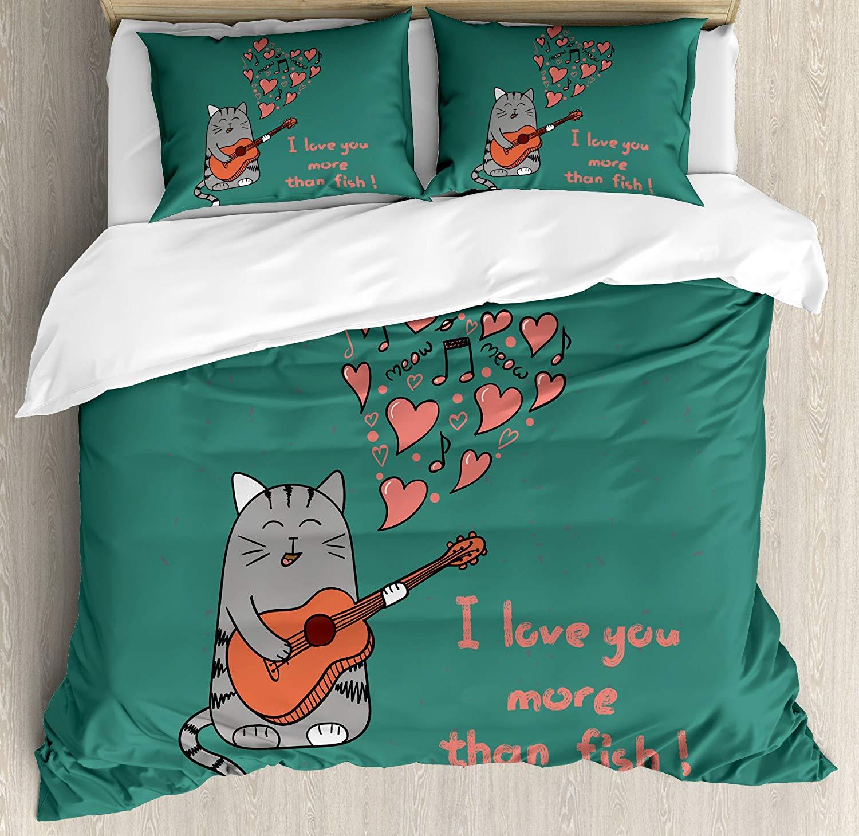 Я люблю тебя больше постельное белье Cat с гитарой больше, чем рыбы песня ноты и Валентина Сердца 4 шт. Постельное белье