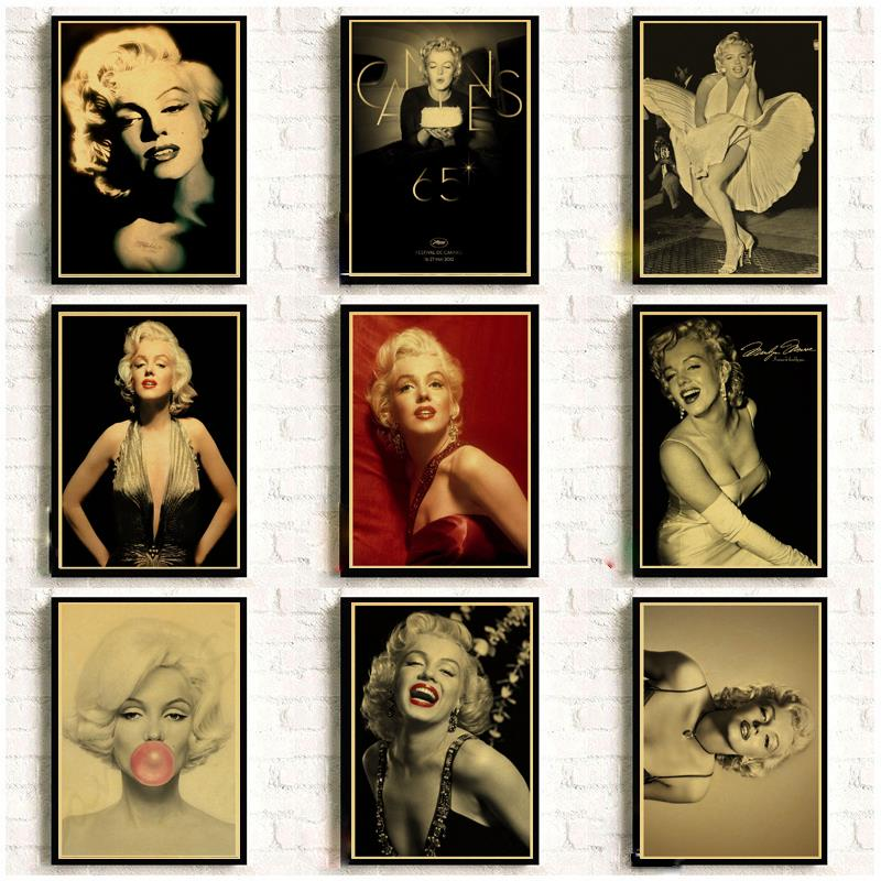 Famous Actress Marilyn Monroe Vintage Posters For Home/Bar/Living Decor Kraft Paper High Quality Poster Wall Sticker