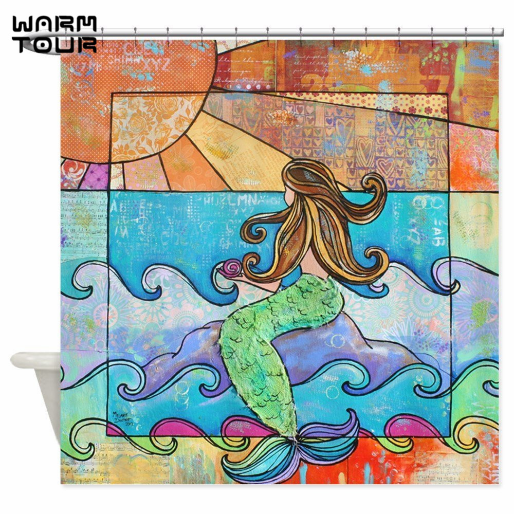 Mermaid shower curtains - Warm Tour Sunset Mermaid Beach Ocean Fabric Shower Curtain Polyester Waterproof Mildew Resistant Bathroom Curtain Wtc065