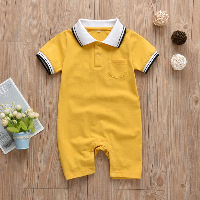 Summer Newborn Baby Boys Romper Short Sleeve Gentleman Style Jumpsuit Infant Clothing Toddler Baby Clothes