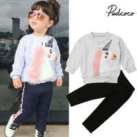 Pudcoco 2019 enfants vêtements costumes pour filles vêtements enfants Enfant en bas âge Enfant Fille Infantis tenues peluche maison sweat + pantalon