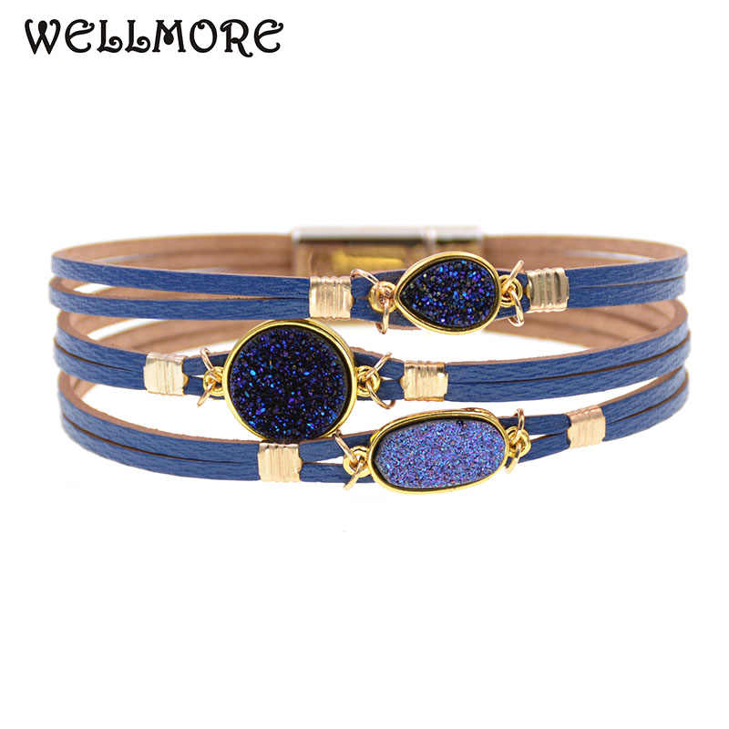WELLMORE metal charm Leather Bracelets For Women Men's wrap Bracelets Couples gifts fashion Jewelry wholesale drop shipping