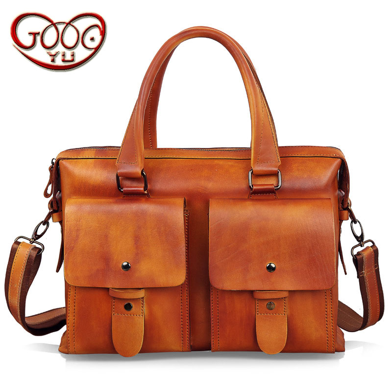 Men's first layer of leather handbag briefcase retro casual large-capacity shoulder bag vegetable tanned diagonal computer bag aetoo leather men bag new retro first layer of leather handbag large capacity vegetable tanned leather shoulder bag