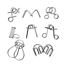 8PCS/Set Materials Metal Montessori Puzzle Wire IQ Mind Brain Tease