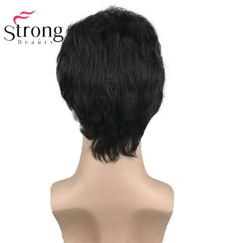 StrongBeauty Black Short Men's Wigs Synthetic Full Wig for Men