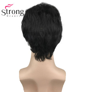 Image 4 - StrongBeauty Black Short Mens Wigs Synthetic Full Wig for Men