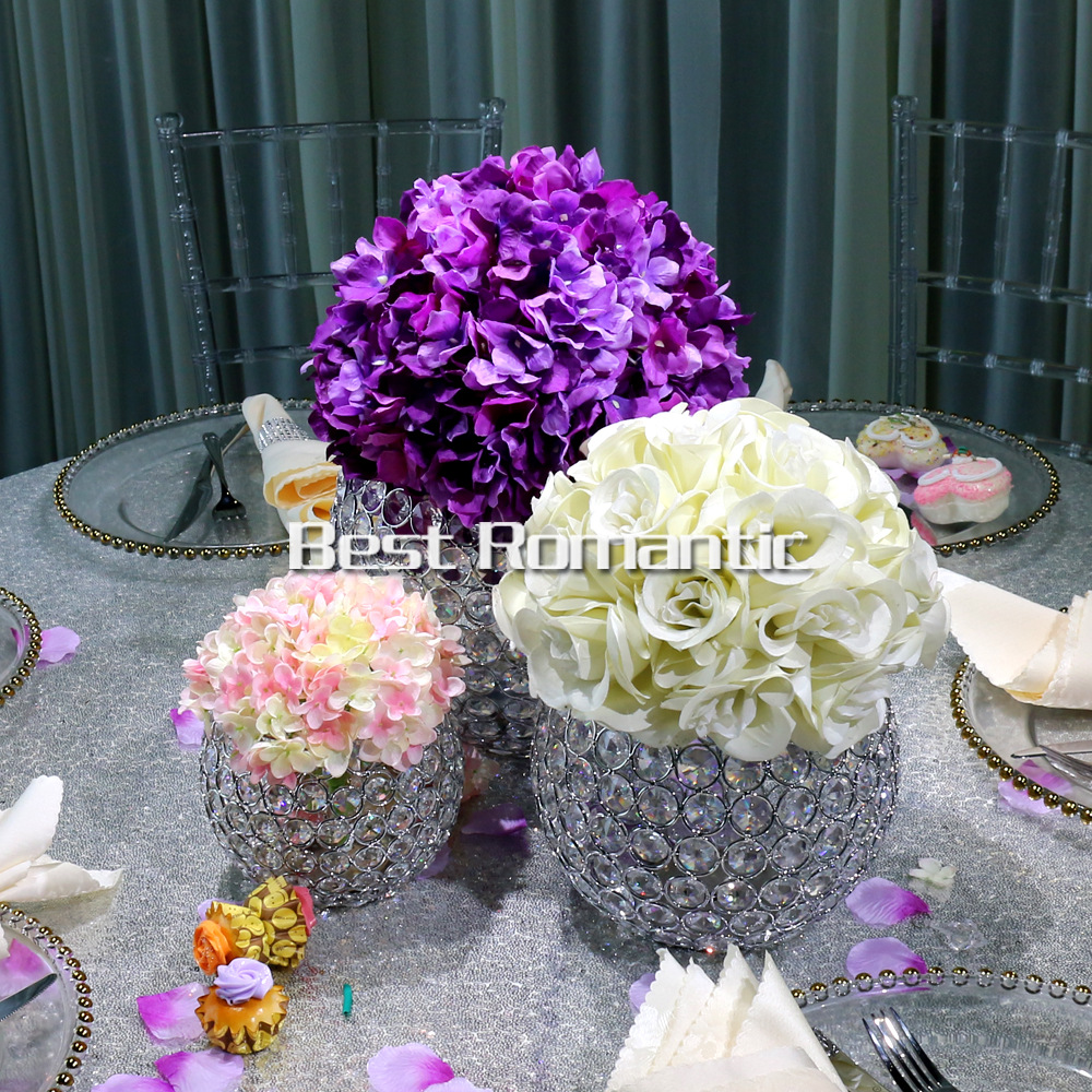 Shinny Floating Centerpiece: New Arrival Octagonal Crystal Beads Ball Candlestick