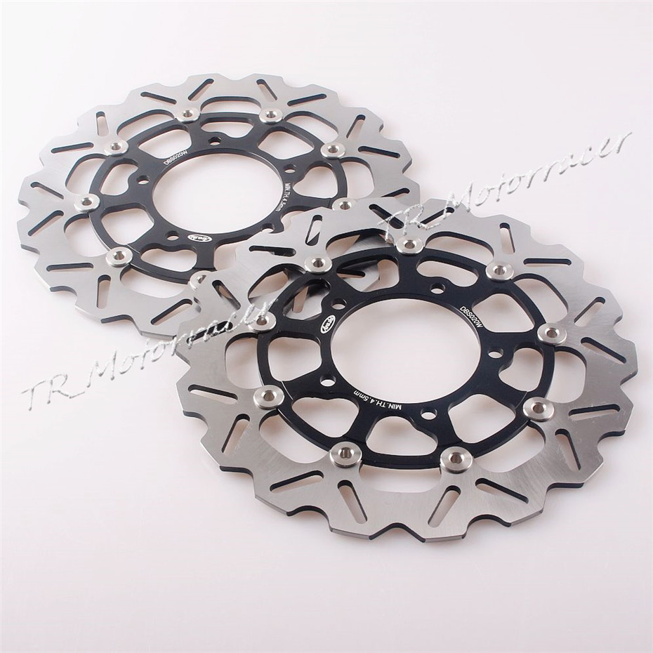 For Suzuki GSX-R600 750 06 07 A pair Front Brake Disc Rotors 2006 2007 GSXR 600 750 & 2005 - 2008 GSXR 1000 Disks Black aftermarket free shipping motorcycle parts for motorcycle 2006 2007 suzuki gsxr 600 750 2005 2008 gsx r 1000 chrome