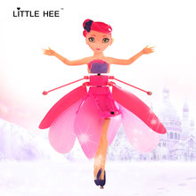 LITTLEHEE Flying Toy Upgrade Induction Elsa Fairy Toys Remote Control Flying Princess RC Helicopter toys for