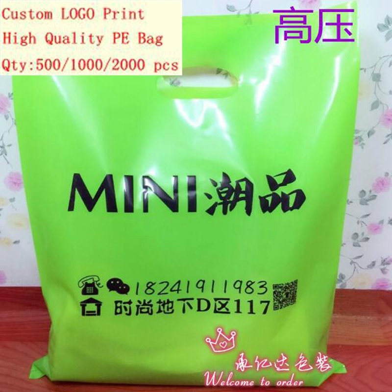 Promotional cute shopping plastic bag with handle 30*40cm package poly bag for clothings candy Love 1000pieces a lot