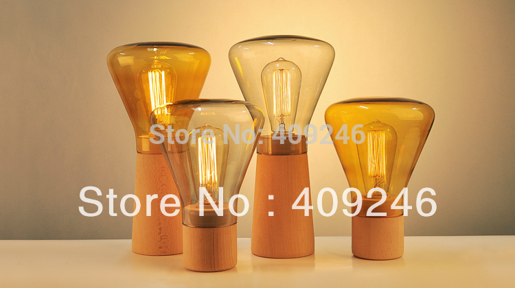 Loft Vintage Industrial Glass Table Light Edison Desk Accent Wood Lamp Cafe Weis For Cafe Bar