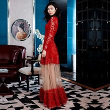 Elegant Lace Long Dress 2016 Runway Women Long Sleeve Floral Mesh gauze Sexy Perspective water-soluble Embroidered Maxi Dress