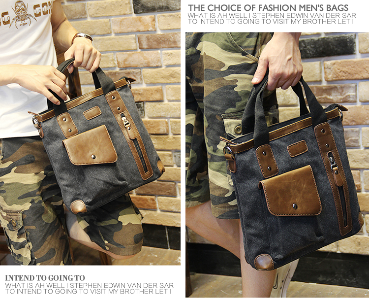 Men's bags Brand Vintage Men's Messenger Bags Canvas Shoulder HandBag Fashion Men Business Crossbody Bag Casual Travel Handbag 27