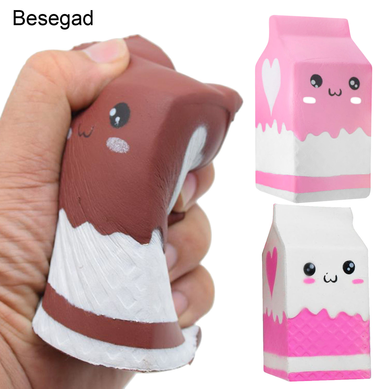 Besegad Kawaii Soft Squishy Charms Milk Bag Toy Slow Rising For Children Adults Relieves Stress Anxiety Cabinet Decor Sample