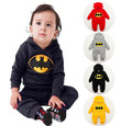 fashion 2015 Novelty 4 color Boys/girls Long sleeve warm Lint Romper Batman Trousers climb baby clothes hooded leotard