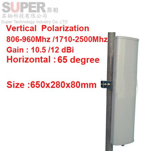 12dbi polarización vertical 65 grados 806-960 Mhz 1710-2500 mhz GSM antena de estación Base utiliza CDMA GSM 3G 4G TE antena de telefonía móvil