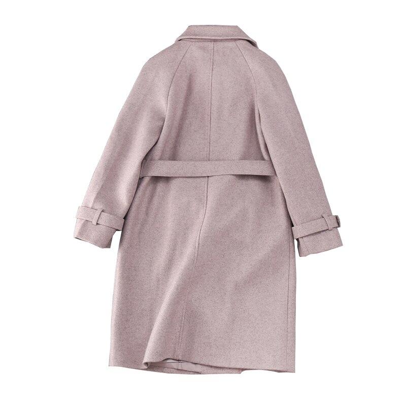 Col Solide Double Beige Automne Samgpilee D'hiver Laine grey Femmes 2018 Manches Longues Nouvelle Mince Et Plein Breasted Streetwear Turn down Mélanges 7qPn8gH