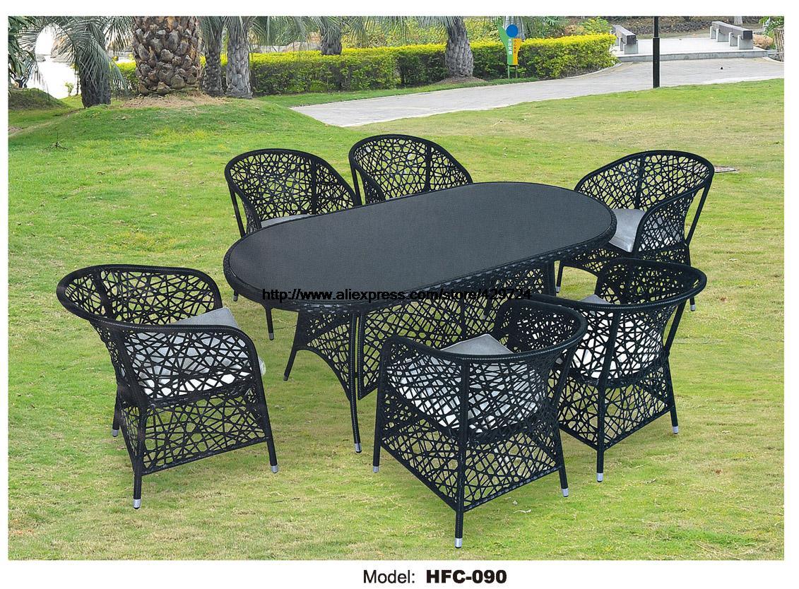 Rattan Art Furniture Bird Nest Design Rattan Large Table 6 Chairs Garden Set Leisure Balcony Villa Hotel Table Chairs Furniture