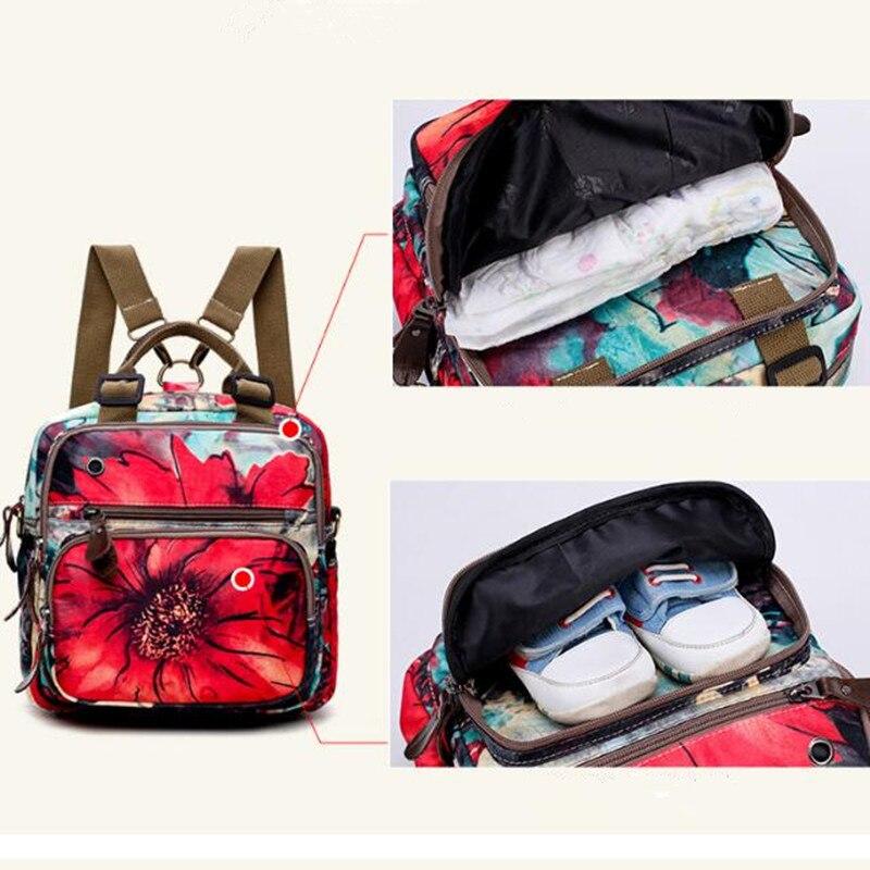 Backpacks Woman 2019 Pink New Multifunction Rose Flowerbackpacks Harajuku Style For Women Waterproof Nylon Backpacks  Mother Bag #5