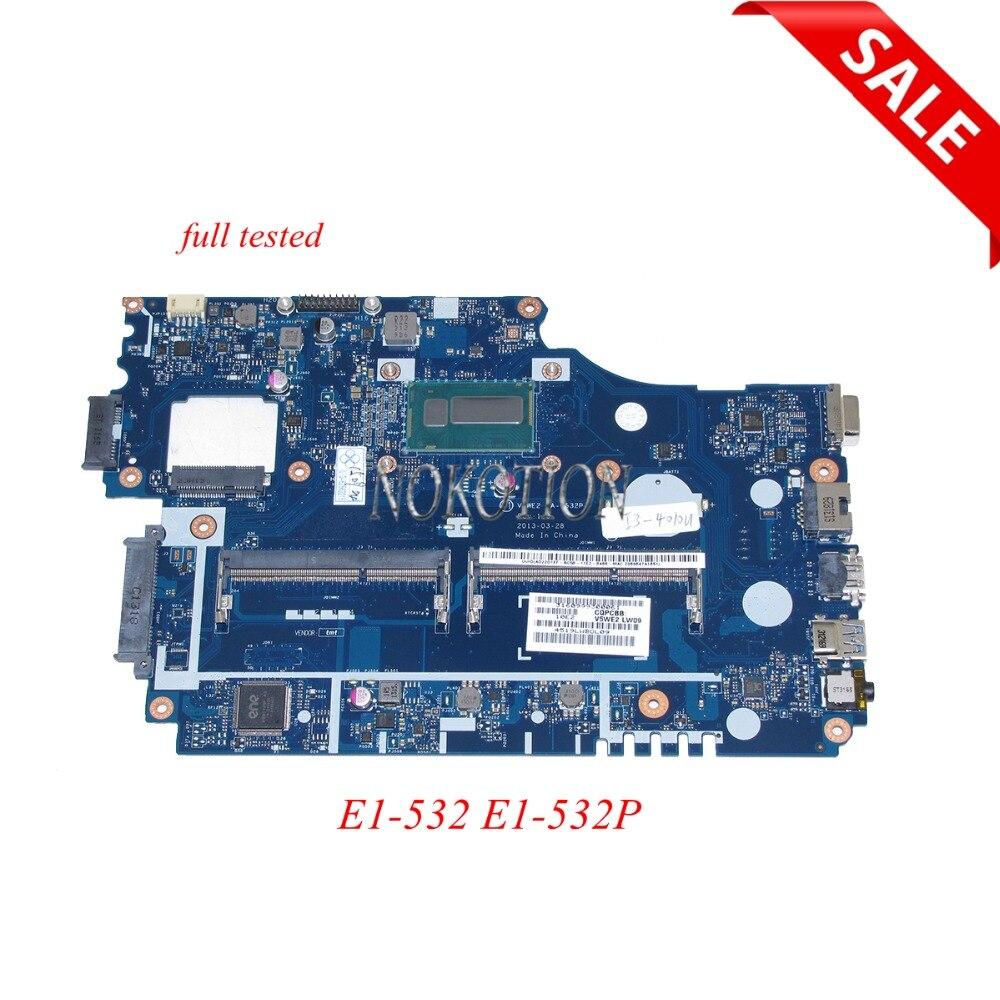 NOKOTION NB.MFM11.00A NBMFM1100A Main Board For Acer E1-532 E1-532P Laptop Motherboard V5WE2 LA-9532P DDR3L full tested цена