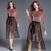 ヨーロッパファッション女性新しいベルベットプルオーバーブラウス&ツーピース服セットドレスガーゼビーズ背の高いウエストセクシーなスーツドレスを