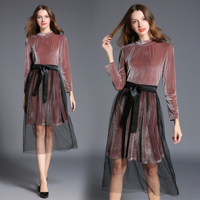 Europe Fashion Women New Velvet Pullover Blouse Two Piece Clothing