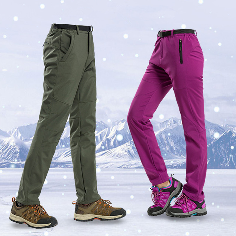New Winter Men Women Hiking Pants Outdoor Softshell Trousers Waterproof Windproof Thermal For Camping Ski Climbing Pant