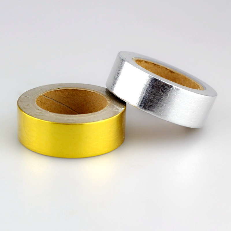 2PCS Gold & Silver Foil Washi Tape Paper Set Kawaii Decorative Scrapbooking Tools Adhesive Masking Tapes For Wholesale