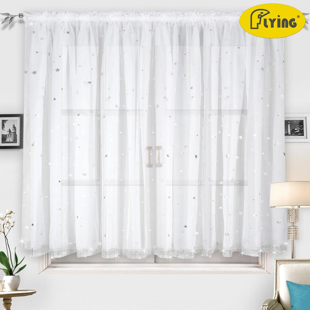 Flying silver star tulle fabric with shine star plastic curtain for window and small door for bed room window special shine in Curtains from Home Garden