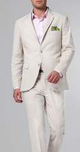 Summer Beige Linen Suit Custom Made Men Suits Wedding Slim Fit Male Blazer Casual Groom Tuxedos Prom Party 2 Piece Jacket+Pants