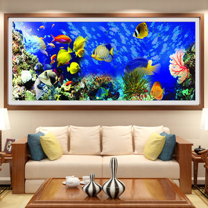 Image 2 - Bordado de diamantes de bricolaje, Diamante redondo paisaje de peces del océano Diamante de imitación completo pintura de diamantes 5D punto de cruz, costura