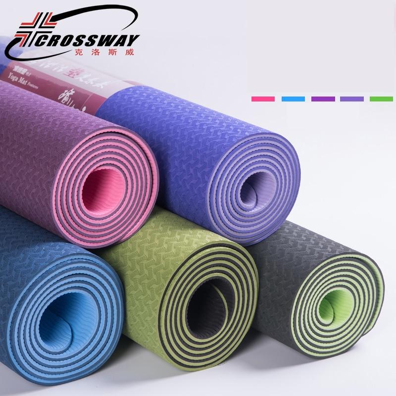 ★  Экологичный TPE пилатес нескользящий коврик для йоги 6 мм фитнес йога спортивный коврик для начинающ ✔