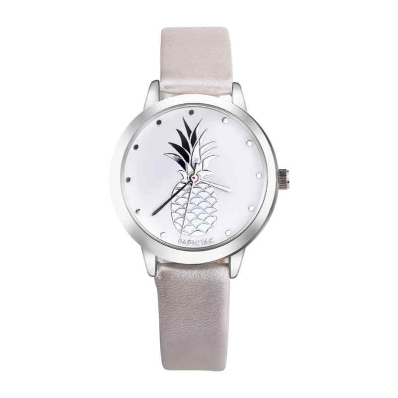 2020 แฟชั่นสตรีสับปะรด Faux หนัง Analog ควอตซ์นาฬิกาสร้างสรรค์ผลไม้รูปแบบนาฬิกาข้อมือ Casual Lady สร้อยข้อมือนาฬิกา
