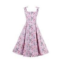 Bohoartist delle donne abiti vintage 2018 estate rosa stampa del fumetto divertente senza maniche carino vestito da partito una linea abiti collare quadrati