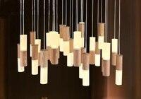 Madera maciza led luces colgantes palillo creativo restaurante sala de estar decoración tienda de ropa del partido de la personalidad colgante lámparas za