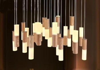 Solid Wood led pendant lights stick restaurant living room personality party clothing store decoration pendant lamps ZA FG395