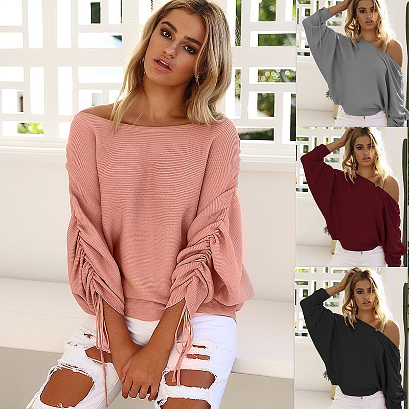 Women Sweaters Autumn Casual Long Sleeve One Shoulder Solid Slouchy Loose Pullover Sweaters Sexy Strapless Off Shoulder