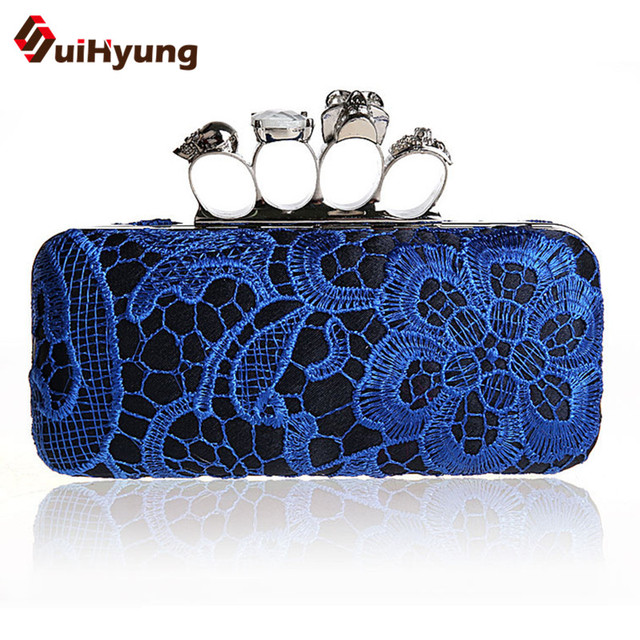 2016 New Style Women's Handbags Vintage Embroidered Lace Flowers Clutch Bbags Party Diamond Evening Bags Purse Skull Day Clutch