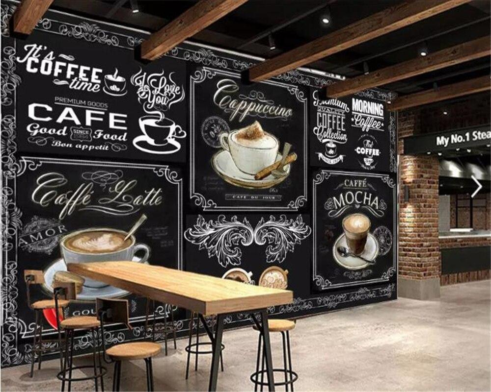 Custom Retro Hand-painted Blackboard Coffee Catering 3d Wallpaper Coffee Shop Restaurant Background Decoration Mural Beibehang