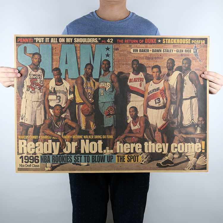 Vintage NBA Basketball 1996 NBA Draft Class Posters Home Decoration Detailed Antique Poster Wall Chart Retro Matte Kraft Paper
