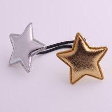 2017 hot sale PU fabrics hair accessories cute gold &silver stars rubber bands girls elastic childrens hairwear